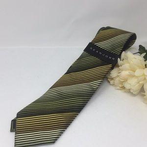 Men's Green Gold Striped Sean John Tie NWT